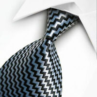 New Retro Black Silver Grey White Stripe Mens Chinese Silk Tie UK Seller Suit