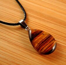 Natural Tigers Eye Gemstone Tear Drop Pendant on a Black Cord Necklace #763