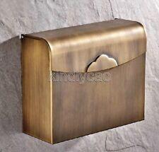 Wall Mounted Bathroom Antique Brass Toilet Paper Holder Roll Tissue Box Kba301