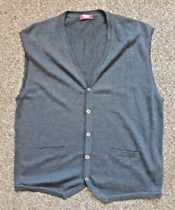 T.M. Lewin Merino Wool Sleeveless Cardigans Grey Size XL / Blue Size  - You Pick
