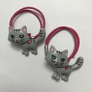 Gymboree Classroom Kitty Hair Tie Ponytail Holder Pink Accessory Set Of 2 Vtg