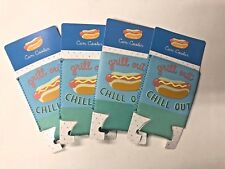Lot of 4 hotdog themed can coolers Koozie party favor summer Bbq pool party