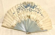 Vtg. 20's ? Hearts & Floral Painted White Ostrich Feather Lt. Blue Celluloid Fan