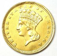 1862 Indian Gold Dollar Coin (G$1) - XF / AU Details - Rare Coin!