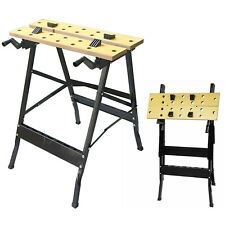 More details for foldable wooden workbench bench work portable clamping folding worktop table diy
