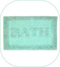 Heavyweight lurex super soft Glitter bath mat AQUA anti skid reverse 50cm x 80cm