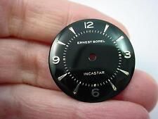 Ernest Borel Incastar Vintage Watch Dial Mens Black 26.5mm Silver Markers NOS