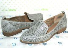 ✿CROWN Vintage Veneta Silver Lasercut Suede Leather Loafer 7 M EXCELLENT!L@@K!32