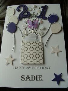 Handmade Luxury Personalised Birthday Card 18th, 21st, 30th, 40th etc - Boxed