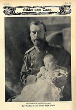 1.Aufnahme des russischen Thronfolgers: Zar Nikolaus II & Sohn Alexis c.1905
