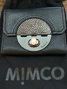 MIMCO Turnlock Leather Wallet.. Black & Rose Gold.. VGC!!