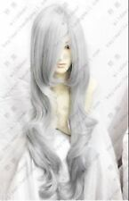 034 New long Silver Grey cosplay party Wavy Wig 100cm