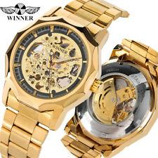 WINNER Luxury Mens Gold Steel Auto Mechanical Wrist Watch Skeleton Waterproof