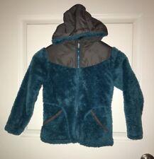 LANDS END Girl Long Sleeve Fuzzy Hooded Soft  Jacket Coat New Sz M 5/6