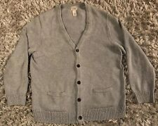 LL Bean Cardigan Sweater Mens XL Large  V Neck 100% Cotton Light Gray Grandpa