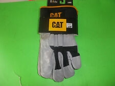 NEW BLACK / GRAY CAPERPILLAR SPLIT LEATHER WORK GLOVES LARGE FREE SHIPPING