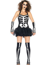 Skeleton Costume Fever Tutu Dress Outfit Ladies Halloween Womens Bones Sexy