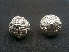 CCB Acrylic Flower Carved Bicone Beads, Platinum Color, 23x24mm,Hole: 2.5mm Qty2