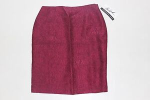 The Look Randolph Duke Womens Size 8 Burgundy Knee Length Skirt Lined NEW W TAG