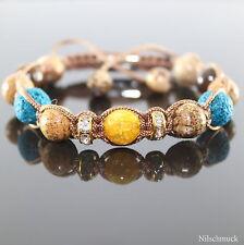 Damen Petrol Lava Rock Gelb Opal Edelstein Perlen Picture Armband Armreifen Frau