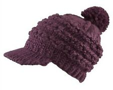 Grobstrick Mütze Bommelmütze Strickmütze Schirmmütze Damenmütze wintermütze lila