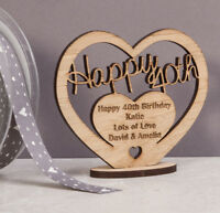 Personalised Wooden Freestanding Heart for 40th Birthday Gift with Message