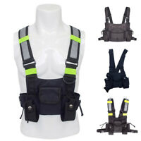 Unisex  Nylon Chest Rig Bag Black Vest Hip Hop Streetwear Functional Tactical