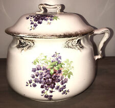 Antique Chamber Pot Purple Flowers With Lid