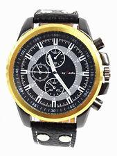 Herrenuhr Jay Baxter Lederarmband Watch Uhr XXL Schwarz Gold Chrono Look HIP HOP