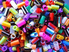 Straw Beads Mix Plastic Assorted Colours Stripy Plain Kids Jewellery Making 100g