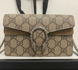 GUCCI GG Supreme Super Mini Dionysus Shoulder Crossbody Wallet On Chain Bag