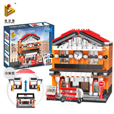 Railway Train Station Town Centre Shops Building Bricks Construction Blocks Kits