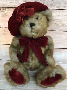 Vintage DanDee Dan Dee Collectible Plush Teddy Bear Red Velvet Hat Bows & Paws
