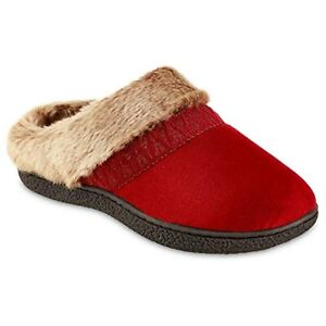 Red Womens Slippers Slip On Isotoner Micro Faux Fur Indoor/Outdoor  (Red)  9 7