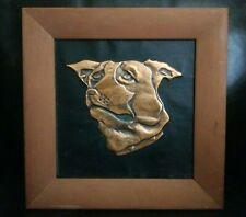 """Copper Pit Bull Bulldog Portrait Dog Framed Original Art """"Buster"""" Embossed"""