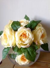 Artificial Silk Flower Arrangement Luxury Yellow Roses In A Large Glass Vase