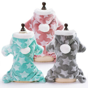 Warm Soft Dog Pajamas Jumpsuit Puppy Small Dog Hoodie Costume Clothes Pink Blue