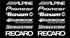 ALPINE, PIONEER, BARUM, HANKOOK, BRIDGESTONE, RECARO  car stickers WHITE #SK-004