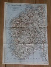1914 ORIGINAL ANTIQUE MAP OF SOUTHERN NORWAY / DET SYDLIGE NORGE