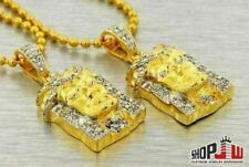 14k Gold Plated Double Jesus Piece Chain Set New Free Dope Tyga Hip Hop Mens