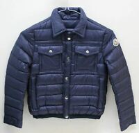 MONCLER Boys Navy Blue Double Close Collared Neck Quilted Jacket 8 Yrs. 130cm