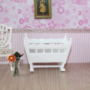 Mini White Wooden Baby Cradle for 1/12 Scale Dolls House Bedroom Decoration