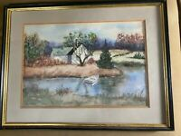 """Vintage Clare Kane """"Home By Water Scene"""" Watercolor Painting - Signed And Framed"""