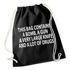 This Bag Contains Gymsack Black Turnbeutel Bombe Messer Drogen Kokain Dope Fun L