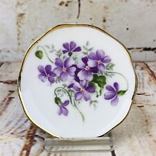 "Mini Butter Plate Wild Violets 2 3/4"" English Bone China Allyn Nelson England"