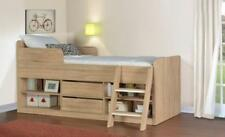 Kids 3ft Single Cabin Bed Oak Finish Wood Bed Frame Children Bunk, Mid Sleeper