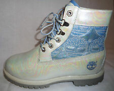 TIMBERLAND CHELISE IRIDESCENT WHITE OILSLICK LEATHER BOOTS 5 38 7.5 UNIQUE OOAK