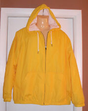 EDDIE BAUER Lined Nylon Hooded Jacket Safety Yellow Terry Lining EUC Sz XL TALL