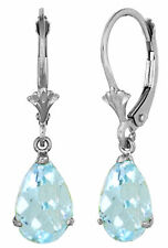 3 Carat Silver Leverback Earrings Natural Aquamarine