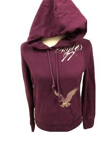 Women's American Eagle Purple Distressed Hoodie Sz S-GUC
